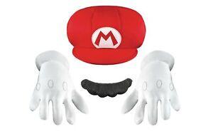 Mario CHILD Costume Accessory Kit Hat Mustache Gloves NEW Super Mario Bros