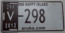 """Matrícula aruba """"one Happy Island aruba.com"""" con años marca. 12023."""