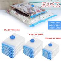 20-80PACK Reusable Space Saver Bags Storage Bag Compresed Vacuum Seal Organizer