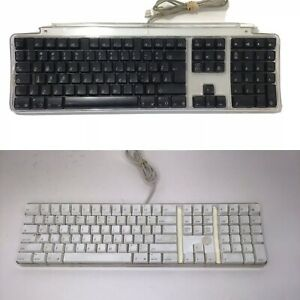 Lot Of 2 Apple A1048 M7803 USB Wired Keyboard USB Ports Clear White And Black