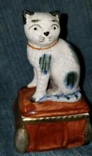"Fitz & Floyd Staffordshire Style Cat Small Porcelain Trinket Box 3""+ h 1981"