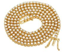 """10K Yellow Gold Genuine Diamond 3MM Solitaire Tennis Chain Necklace 7 1/2 Ct 22"""""""