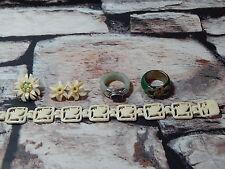 VINTAGE Chinese Jade Jadeite Argento & Bone lotto di gioielli Anelli Bracciale Spilla