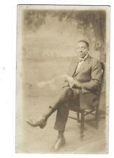 RPPC 1918-30 Black Americana Gentleman Studio Photo Postcard