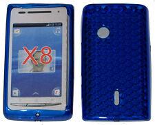 Custodia in TPU IN GOMMA MORBIDA PATTERN GEL Custodia Cover Blu per Sony Ericsson Xperia X8 X8i E15i