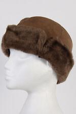 Vintage Genuine Winter Sherpa & Suede Hat Cool 90s Cossack UK Brown M - HAT136