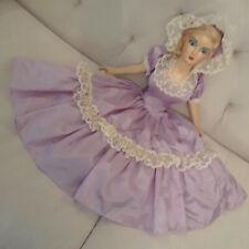 Boudoir doll composition face painted original lavander dress c. 1920-40