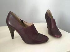 Autograph by M&S Burgundy Shoes Ankle Boots Heels Leather Womens Insolia