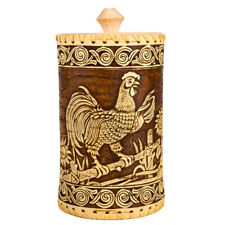 """8"""" Tall Birch Bark Food Storage Container w/ Rooster. Made in Russia Wooden Box"""