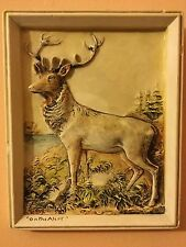 """Coloured Ceramic Relief Tile of a Stag / Deer Titled """"On The Alert"""" - Marked"""