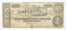 Genuine Civil War 1864 $10 C. S. A. Over 150 Years Old Horse Blanket Note *210