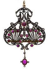 Diamond Tourmaline Silver Pendant Jewelry Estate Victorian 4.88cts Pave Rose Cut