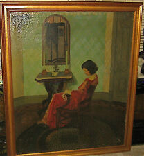 George Oberteuffer Signed Antique Haunting Still Life Portrait Oil Painting53x46