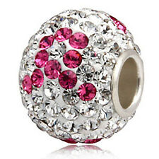.925 Sterling Silver Crystal Rhinestone Bead Fits European Charm Bracelet SS231