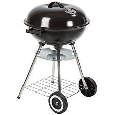 Barbacoa de carbón con tapa y ruedas kettle terraza jardín BBQ parrilla ahumado.