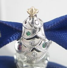 FESTIVE MULTI-COLOR Tree PANDORA Silver/14K GOLD Christmas Charm 791999CZRMX