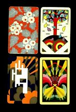 4 Vintage Art Deco Swap Playing Cards COLORFUL GEOMETRIC SHAPES DIAMONDS & TREE
