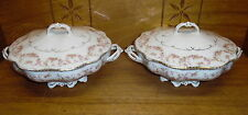 Pair MZ Austria Altrohlau Porcelain Round Covered Vegetable Dishes - Bridal Rose