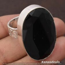 12 Gm Glass Black Onyx 925 Sterling Silver Plated Fashion Ring 9.5'' KR-20753