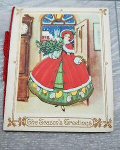 1930s Christmas Season's Greetings Card Illustrated Young Girl Christmas Dress