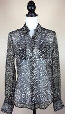Lucky Brand Women's 100% Silk Brown Printed Button Down Shirt Front Pockets Sz S