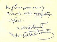 🌓 HENRY DE MONTHERLANT carte autographe signée à la comédienne LOUISE CONTE #3