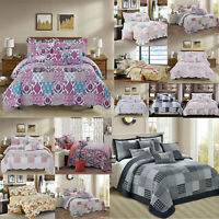 New Patchwork Quilt Bedspread 3 Piece Bed Throw Double King & Super King Size UK