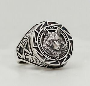 Wolf head Witcher Animal 925 Sterling Silver Organic oxidized Men's Biker Ring