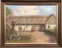 IMPRESSIONIST MARTIN JOHAN TENGBERG 1877-1941 ALTER BAUERNHOF - ÖLGEMÄLDE 45X57