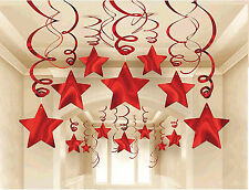 Red Shooting Stars HANGING SWIRL Decorations Wedding Birthday Party Supplies 30