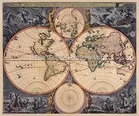 Visscher Antique Vintage Blue Colour Color Old World Map Plan Double Hemisphere