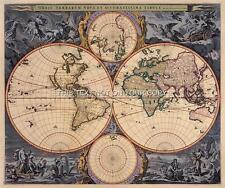 Visscher Antik Vintage Blaue Farbe Alte Weltkarte Plan Doppelt Hemisphärisch