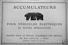 PUBLICITÉ ACCUMULATEURS TEM POUR VEHICULES ELECTRIQUES