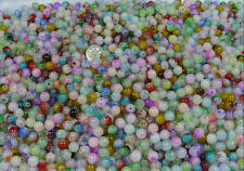1/2 LB LOT 8MM ROUND AUTUMN RUSH LAMPWORK GLASS BEADS