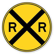 "Railroad Crossing Road Sign car bumper sticker window decal 4"" x 4"""