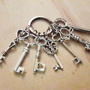 7er Schlüsselbund Schlüssel Silber Antik Landhaus Shabby chic Deko