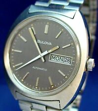 Bulova Swiss 17J automatic day/date ss watch w/ original band,tag,box 1976 NOS?