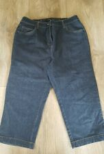 Ladies Summer Cropped Denim Trousers Size 12 (Elasticated Waist)