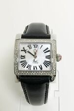NEW MICHELE 112 DIAMONDS SILVER,BLACK LEATHER BAND ROMAN NUMERALS MOP DIAL WATCH