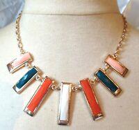 collier moderne couleur or déco rectangle cabochons de couleur 3687