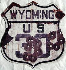 Us Wyoming 30 Highway Shield Rustic