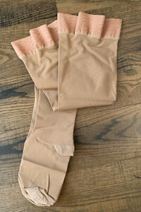 Opaque Thigh Compression Stocking Large Firm Support 20-30 mmHg Beige Close Toe