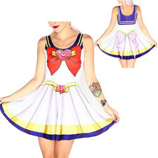Sailor Moon Women Printed Pleated Skater Skirts Sexy Dress Punk Stretchy Hot New