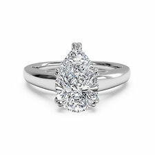 2.00 Carat Diamond Engagement Ring Pear Solid 14K White Gold Band Size 6 7 8