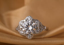 White Cubic Zirconia Fine Jewelry Silver Engagement Ring 0.76 Ct Studded