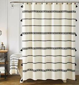 YoKii Tassel Fabric Shower Curtain Black and Beige Stripe Print Boho Polyeste...