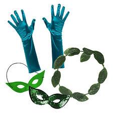 Femmes mesdames poison ivy robe fantaisie set 1 (feuille halo, gants, masque yeux)