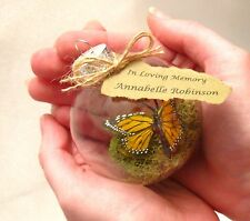 Monarch Butterfly Memorial Christmas Ornament - Clear Glass, In Memory Note
