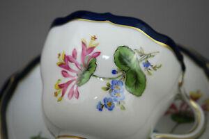 Meissen Porzellan Kaffeegedeckt 3Tlg Kobalt Blau Tasse Blumen NEU NR.3