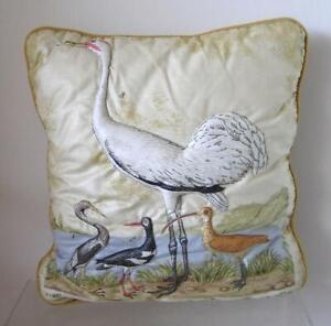 Vintage Trapunto Quilted Pillow Small Throw Louisiana Heron Shorebirds Coast